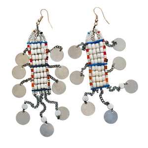 Maasai White Beaded Earrings