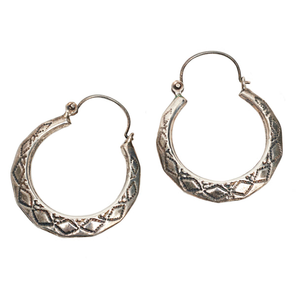 Etched Silver Hoops