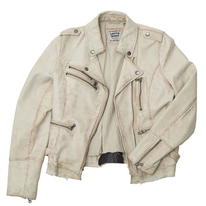Trashed Levi's White Leather Jacket