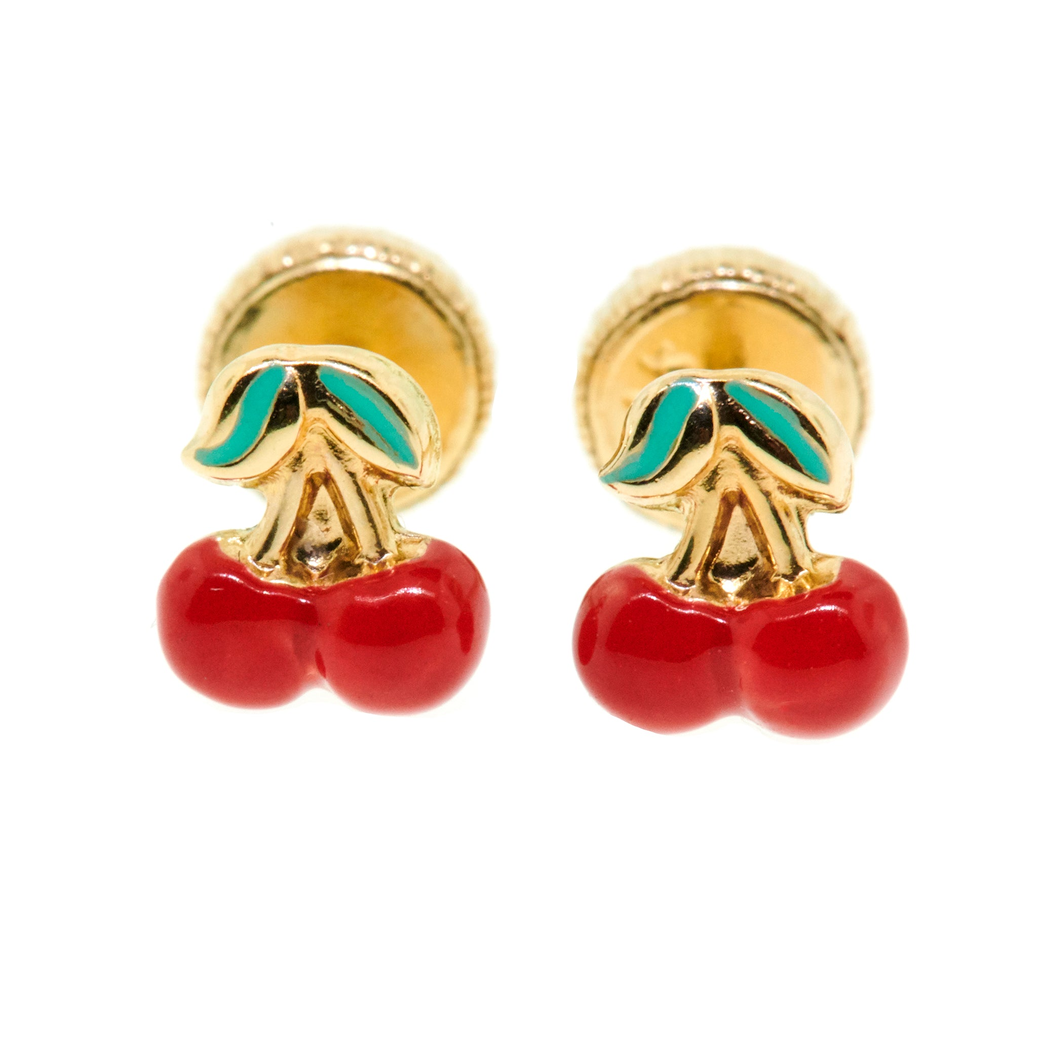 Tiny Enamel Cherry Studs