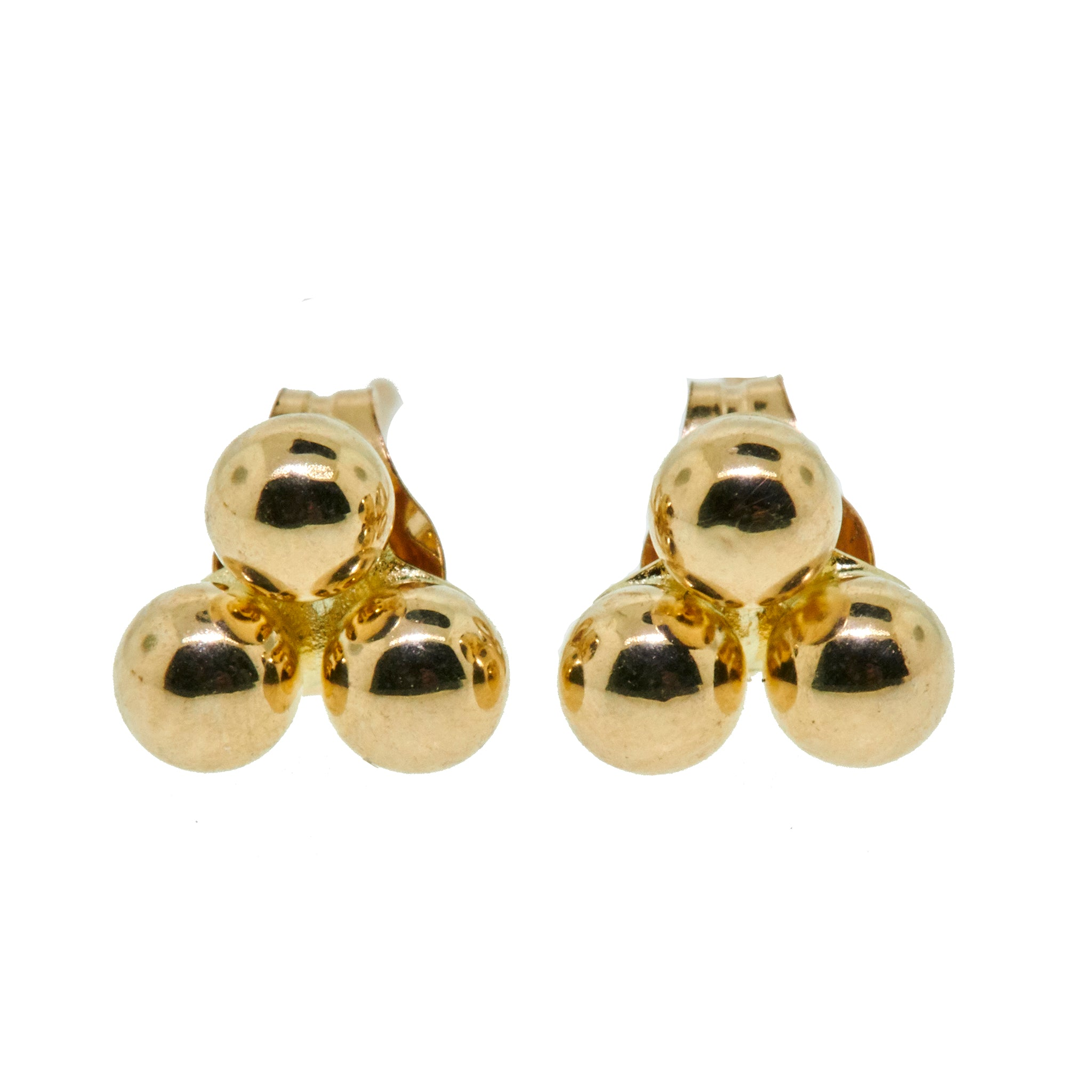14K gold triple ball studs