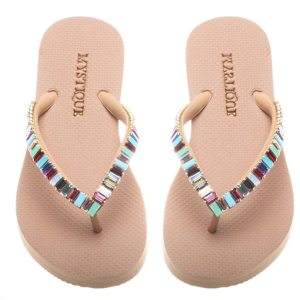 Multi Color Beaded Flip Flops - Mystique