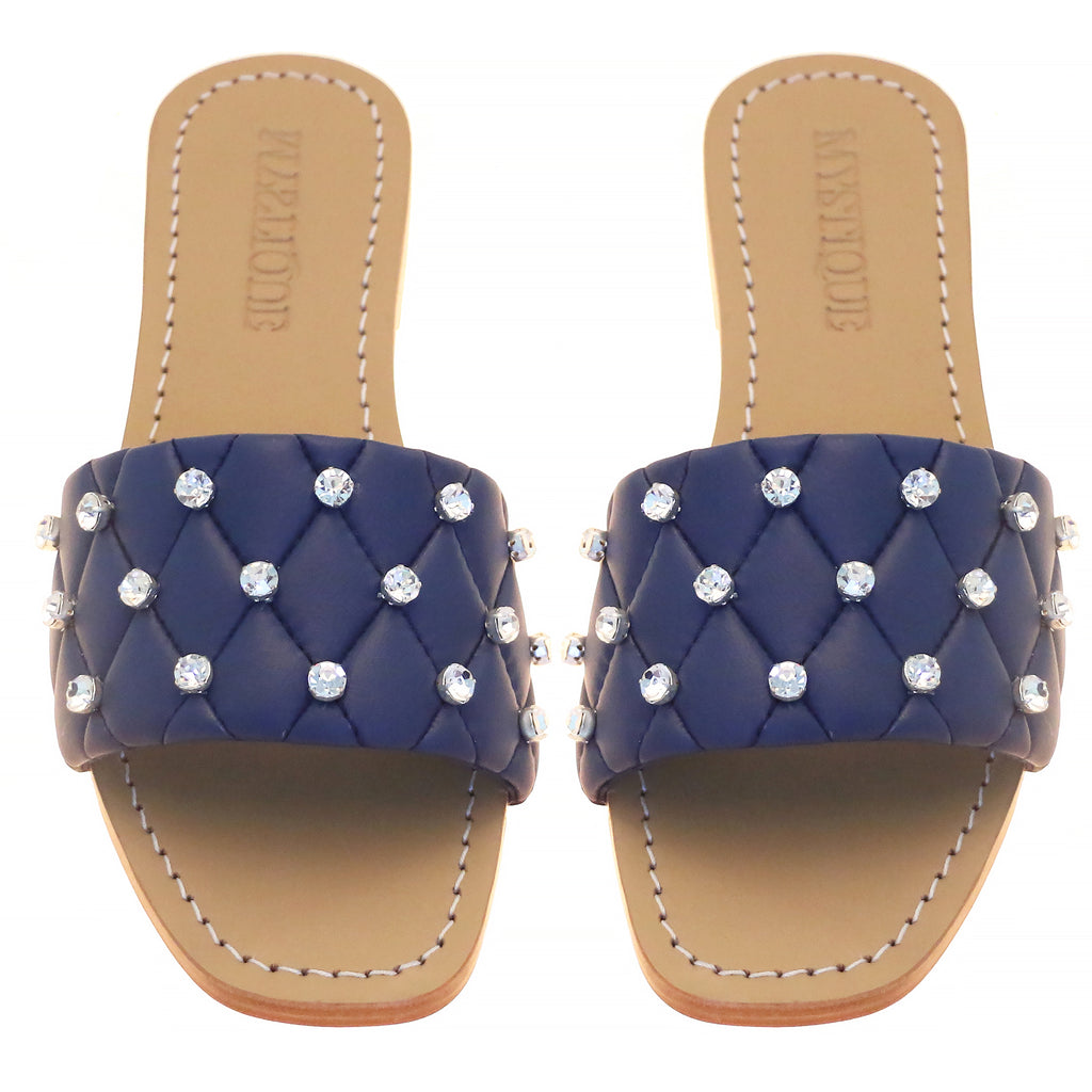 "Navy Leather ""Elmira"" Sandal - Mystique"