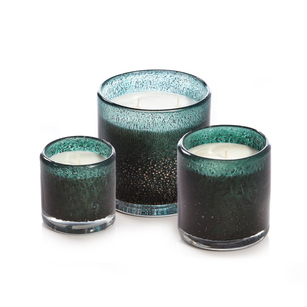 Medium 15oz Cylinder Candle Holiday Dark Green Bubble - Gui de Noel