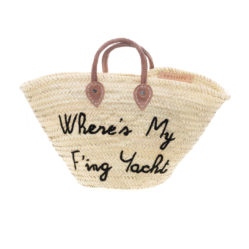 "Poolside Exclusive - Basket- ""Where's My F'ing Yacht""- Black Yarn"