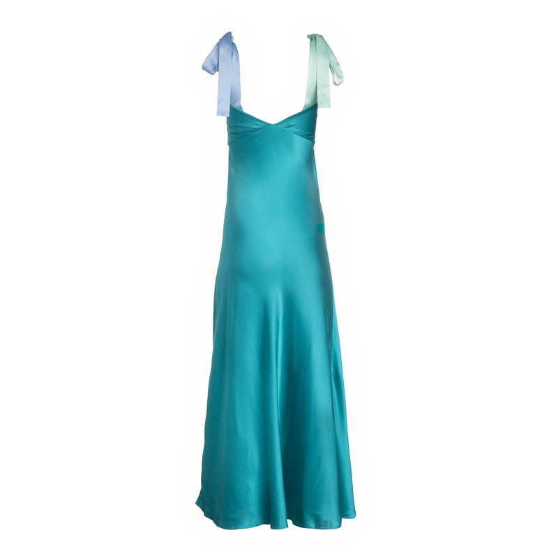 DANNIJO - DRESS WITH BOW TIE STRAPS - ELECTRIC TEAL