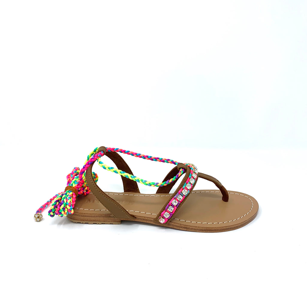 Mystique - Camel / Multi Color Strap Beaded Sandal