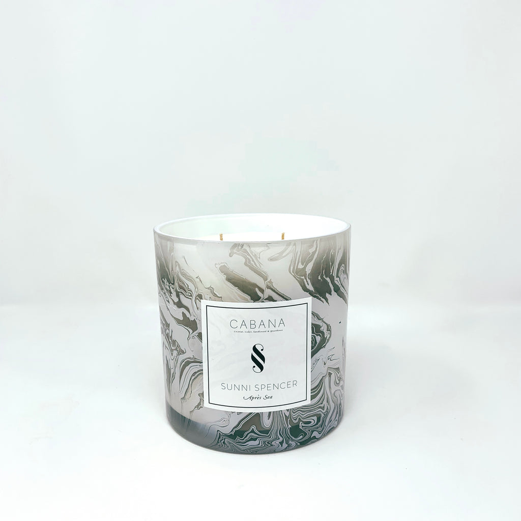 "Sunni Spencer Candle - ""Cabana"" Grand 4 Wick - Marble"