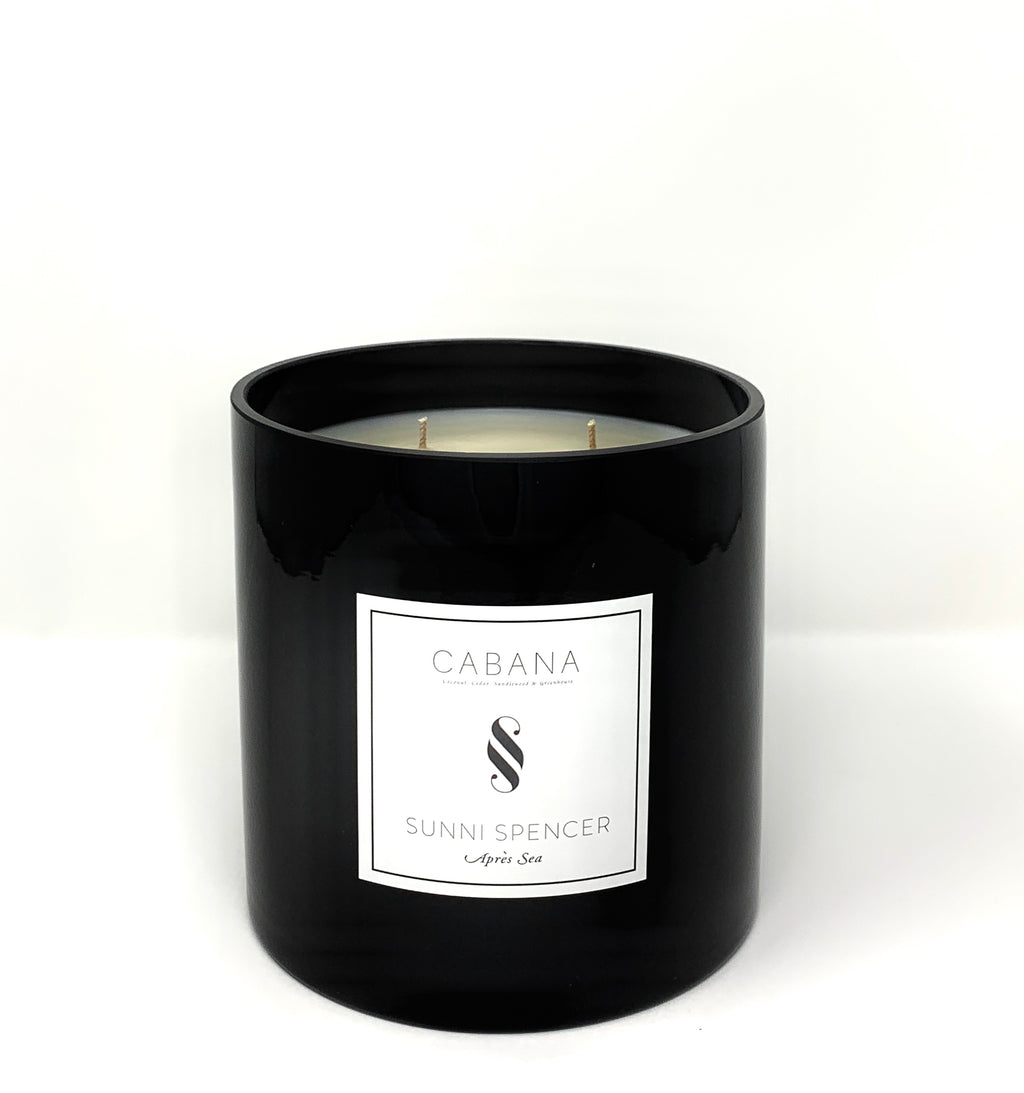 "Sunni Spencer Candle - ""Cabana"" Grand 4 Wick Black Gloss"