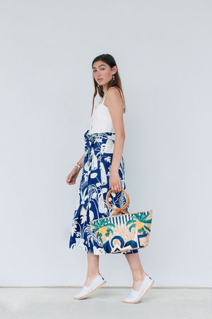 Kimani Skirt - Plant Print Blue/White by WHIT NY