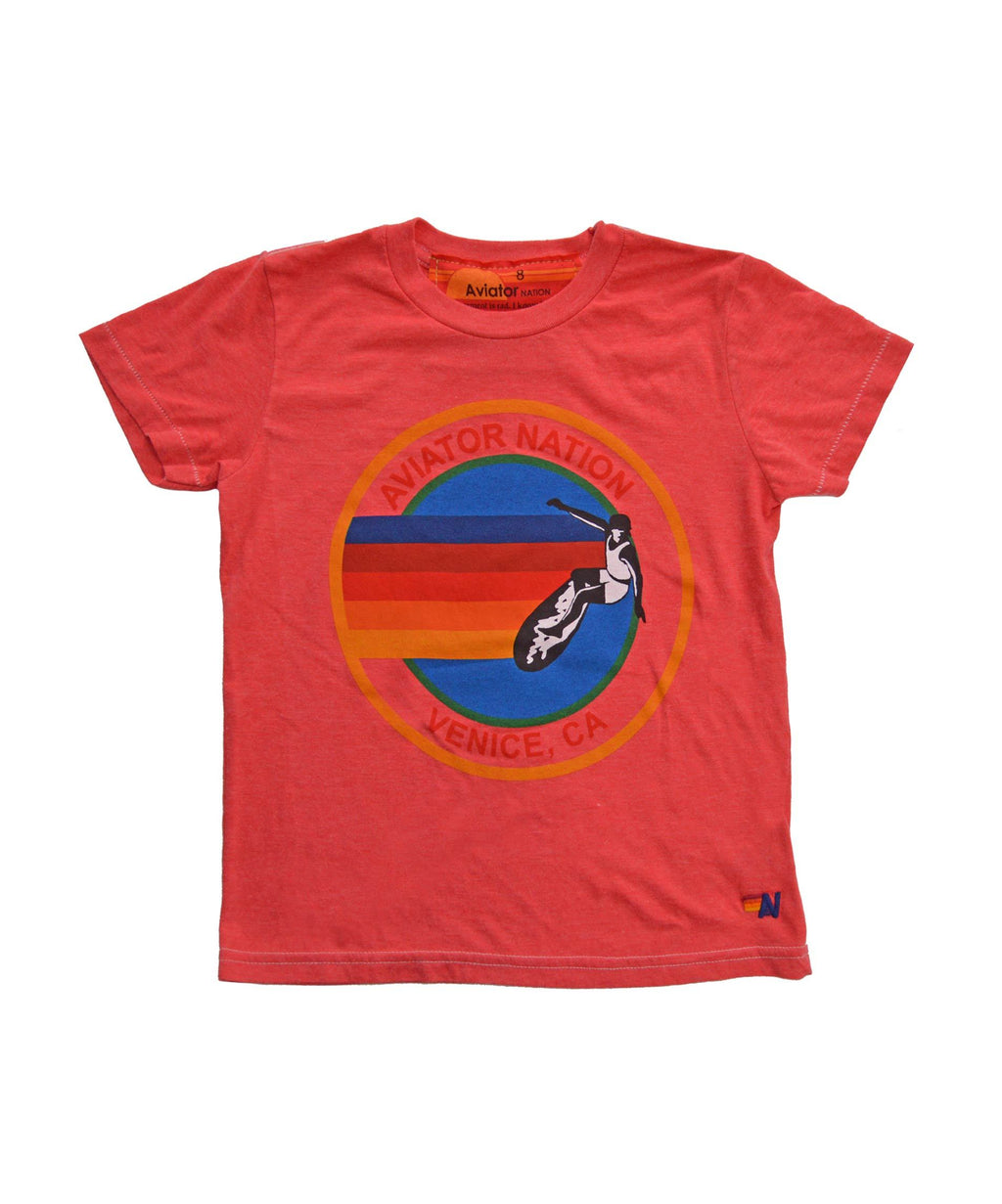 AVIATOR NATION - KIDS TEE - NEON RED