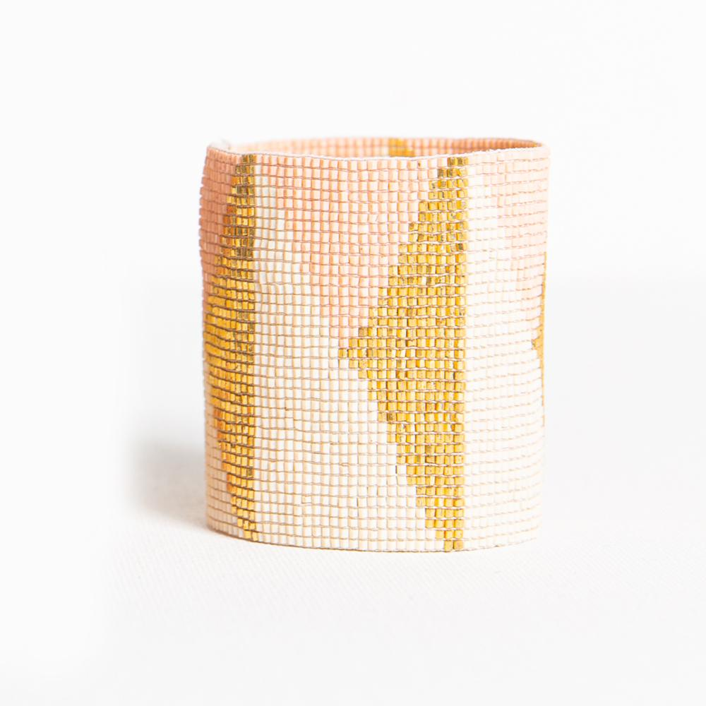 Ink + Alloy blush ivory and gold triangle luxe stretch beaded bracelet
