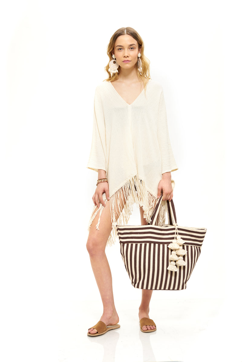 Valerie Tote in Exclusive Chocolate Stripe