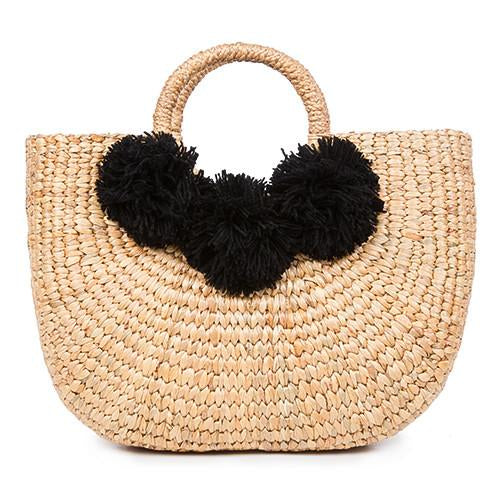 JADEtribe- Beach Basket 3 Pom Black- Small