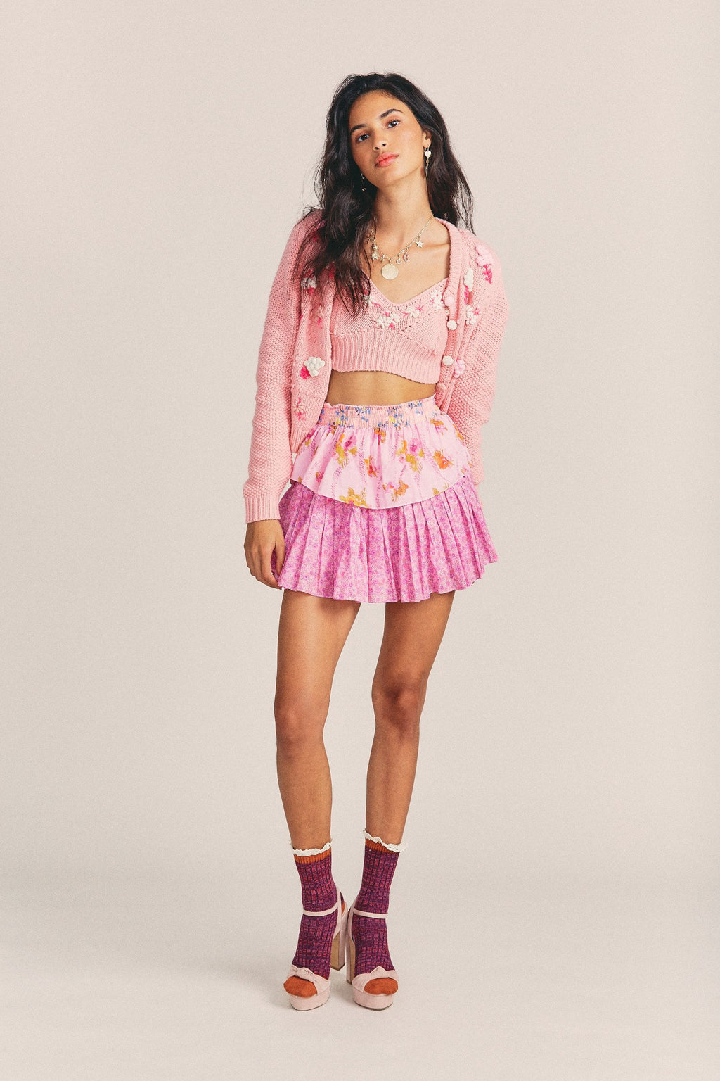 LOVE SHACK FANCY - RUFFLE MINI SKIRT - EXPLODED PINK