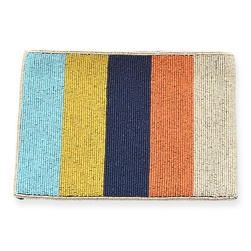 Ink + Alloy - Multi Color Stripe Beaded Clutch