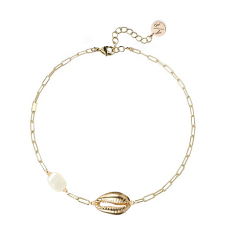 Metal Puka Shell Accent Adjustable Bracelet - Gold