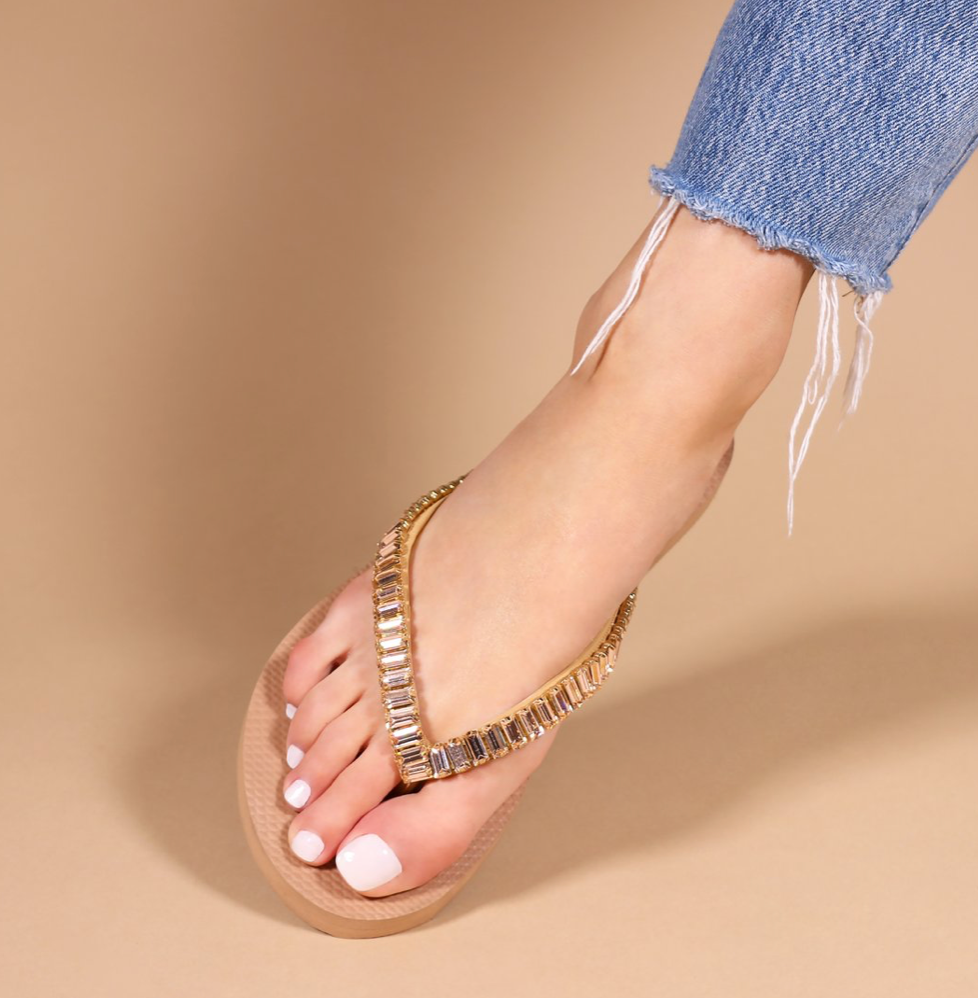 Anaheim - Rose Gold Color Beaded Flip Flops - Mystique