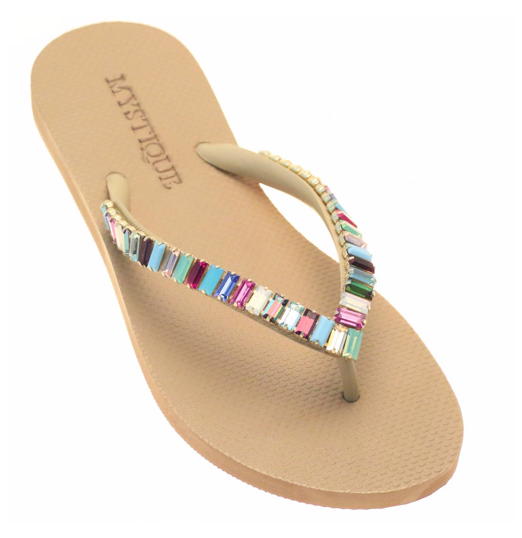 Anchorage - Multi Color Beaded Flip Flops - Mystique