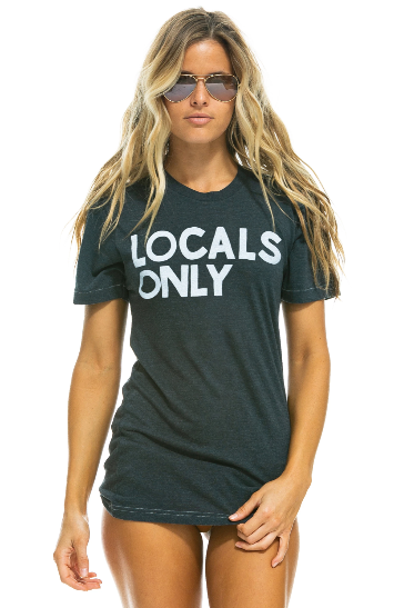AVIATOR NATION - LOCALS ONLY CREW TEE SHIRT - CHARCOAL