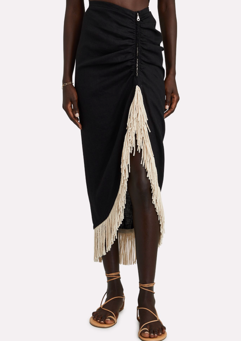 JUST BEE QUEEN  - TULUM SKIRT -Black Fringed Linen Skirt