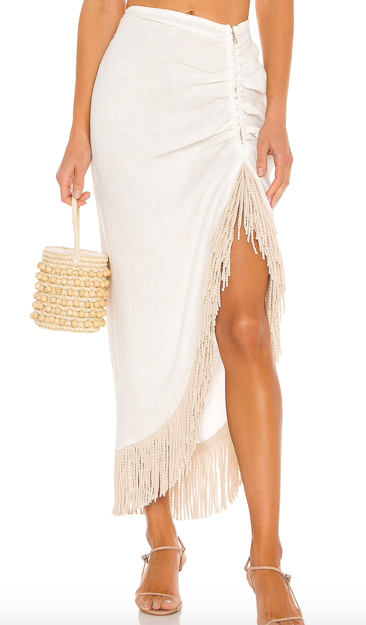JUST BEE QUEEN  - Mallorca Fringed Skirt -Ecru