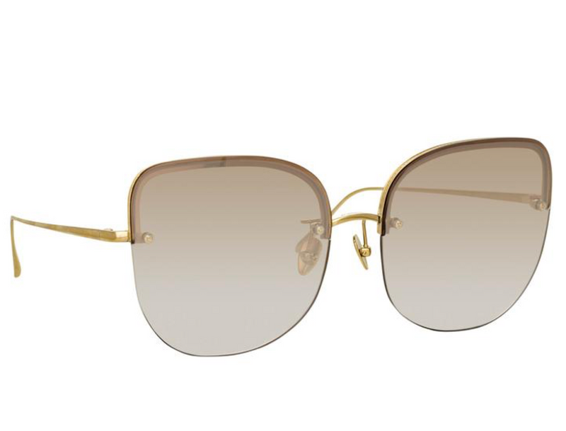 Linda Farrow - Loni Cat Eye Sunglasses in Light Gold and Blue