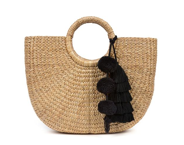 Small Basket - Tassel Pom Black - Jadetribe