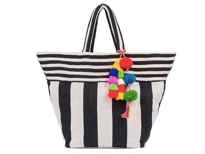 Valerie Wide Tote - Black/ Multi Tassel - Jadetribe