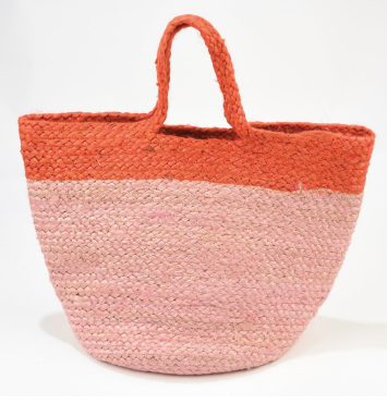 Ink + Alloy - Pink and Red Color Block Jute Bag