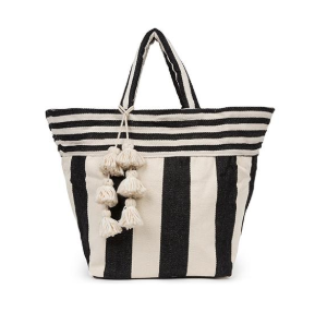 JADEtribe - Valerie Small Tote Wide - Black/ White Tassel