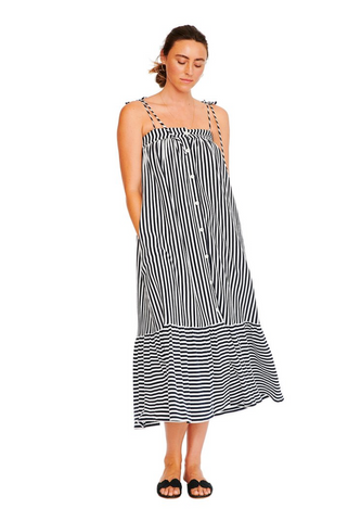 """Xenia"" Tie Front Midi Dress"