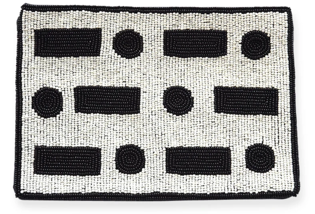 Ink + Alloy Black and White S.O.S Beaded Clutch