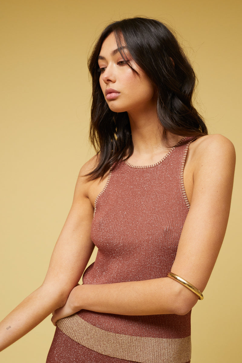 Suboo- Leah Knit Tank Top- Rust