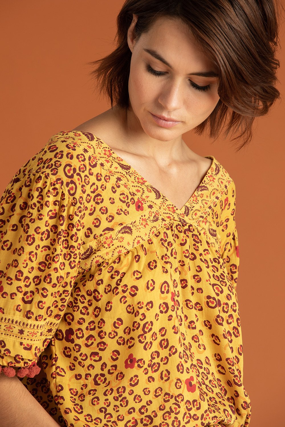 """Mya"" Pompom Trimmed Blouse - Yellow Leo"