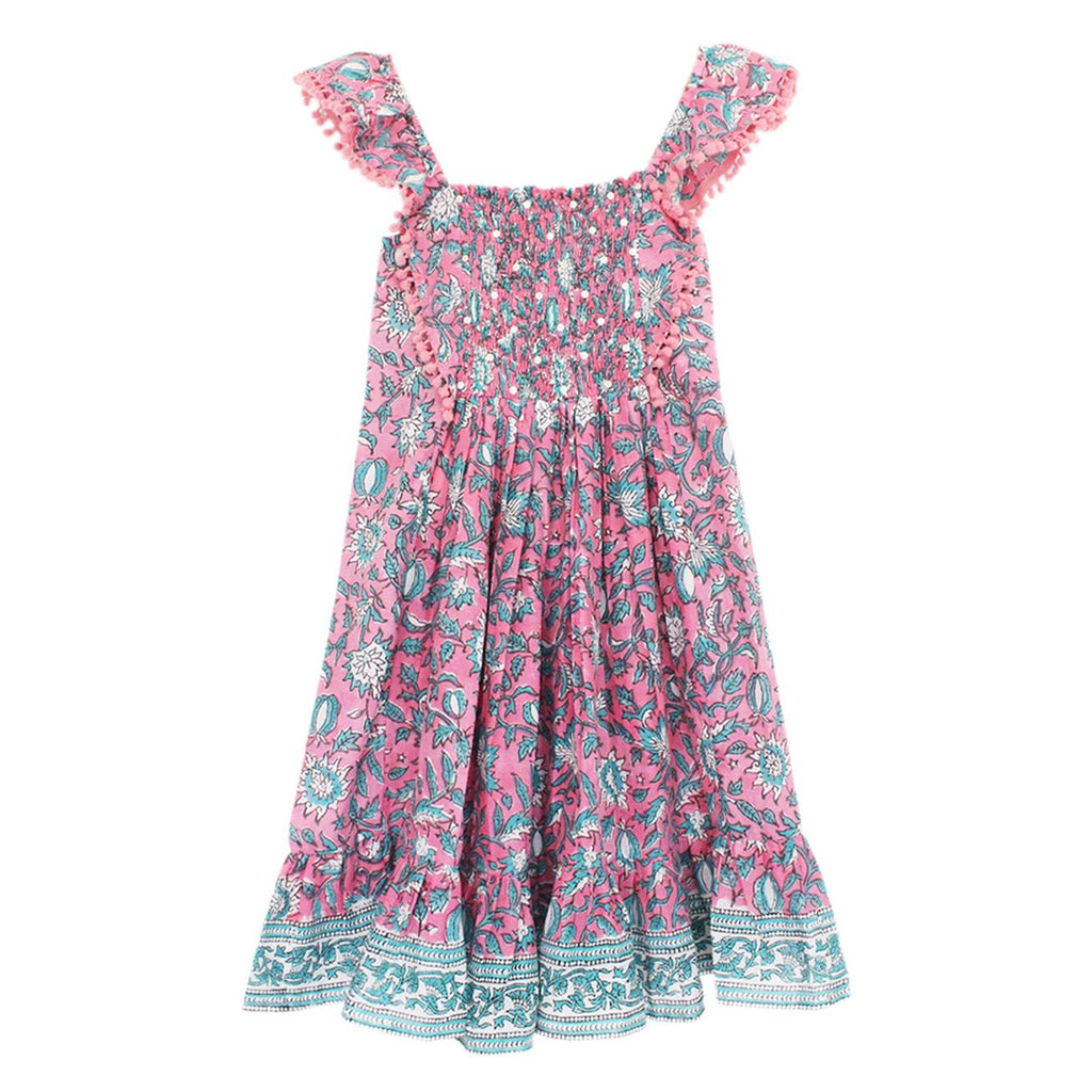 ALICIA BELL - LITTLE BELL TULIP DRESS UNLINED - PINK/GREEN 12m-8y