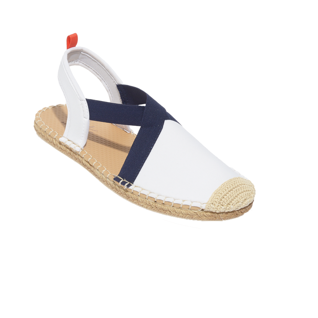 Women's Seafarer Slingback: White with Navy Elastic