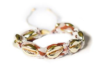 ADRIANA PAPPAS - WRAPPED MINI SHELL FABRIC BRACELET - LEOPARD/14K GOLD