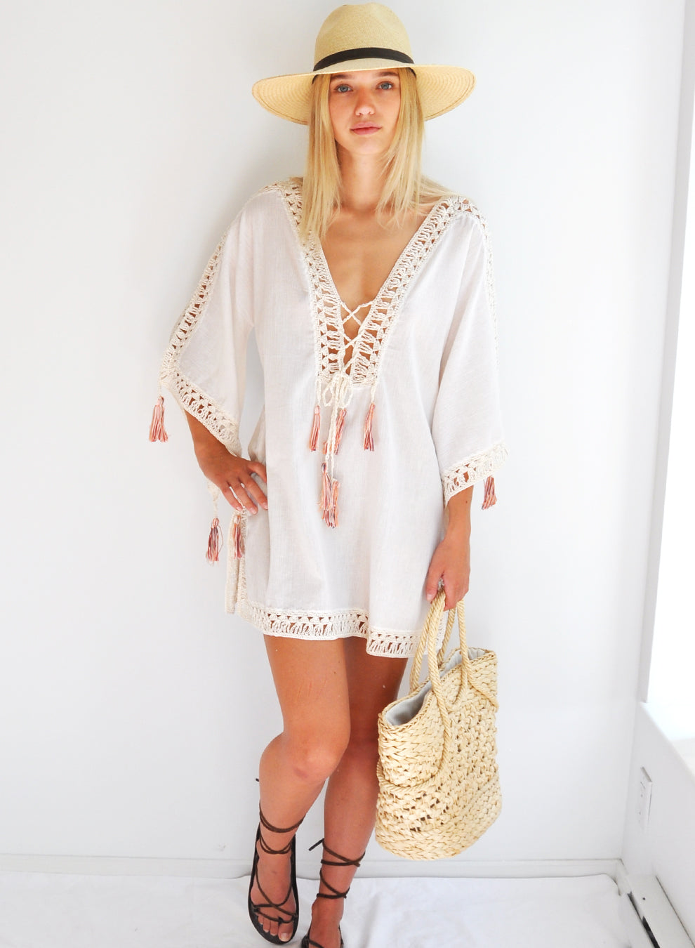 ANNA KOSTUROVA - PENELOPE KIMONO MINI DRESS - CREAM/BLUSH