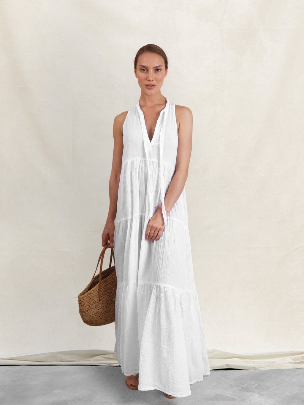 """Eve"" Long White Double Gauze Dress"