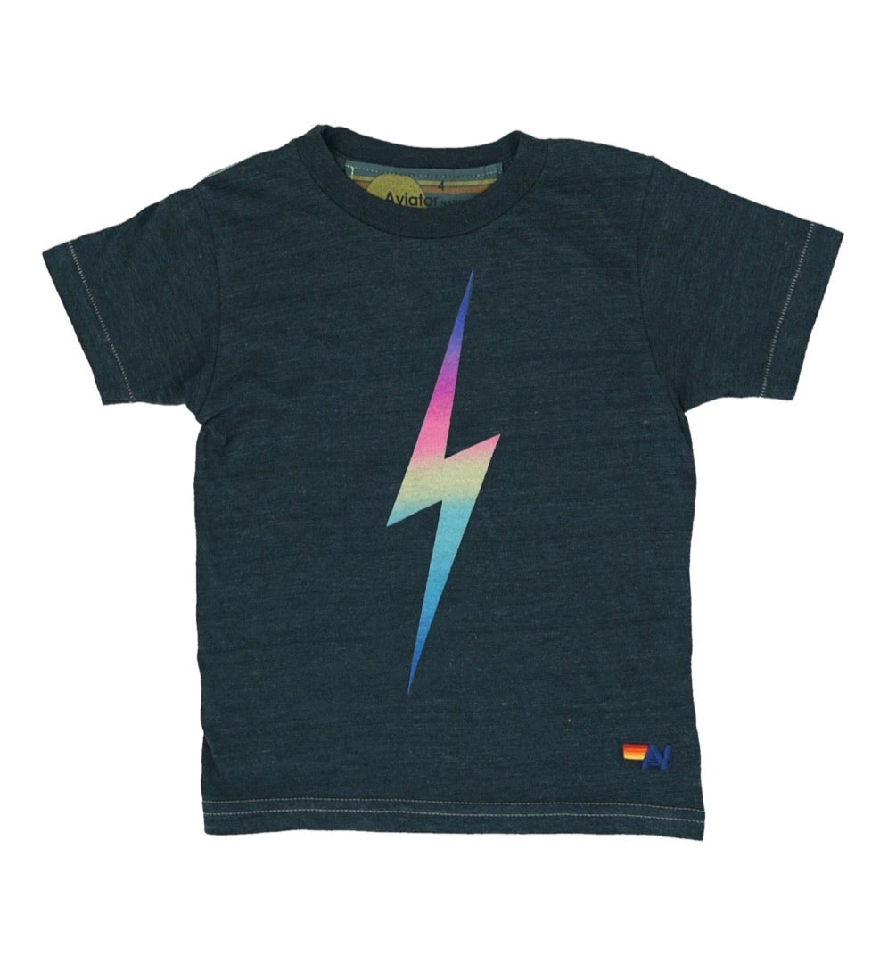 AVIATOR NATION - KIDS TEE - Bolt / Rainbow Pink
