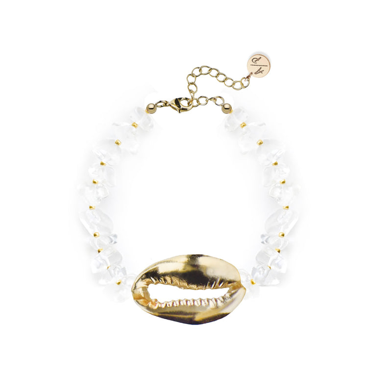 Mega Shell Quartz Bracelet - 14k Gold