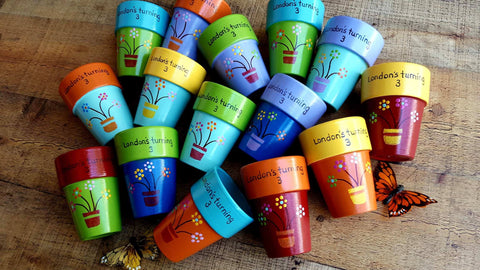 Kid's Party Favors - Set of 20 - Small Painted Planters - Outdoor Party Favors - Seed Planting Party - Happy Moose Garden Art