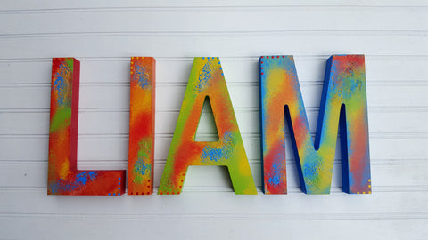 Block Letters - 4 Letter Name - Kids Name Sign - Nursery Wall Art - Boy