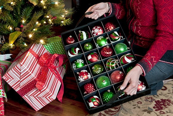 Santa's Bags Three Tray Ornament Storage Bag with Side Pockets removable tray near Christmas tree