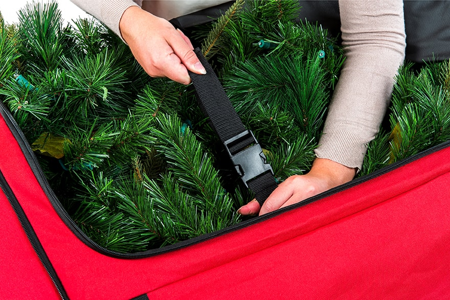 Santa's Bags EZ Roller™ Tree Storage Bag Compression staps Being Buckled