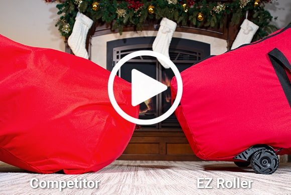 Santa's Bags EZ Roller™ Tree Storage Bag being picked up and rolled next to a competitor bag that's dragging