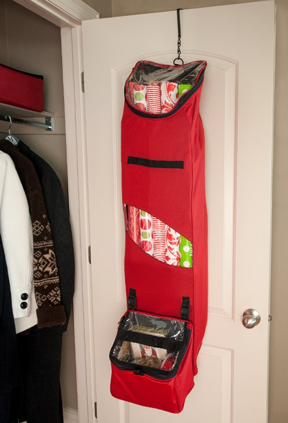 Santa's Bags Hanging Wrapping Paper Storage Bag with removable toolbox hanging on door