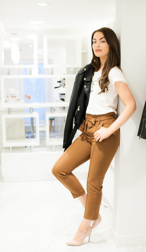 Walk In Wardrobe Chino Trousers with T-shirt and Biker Jacket
