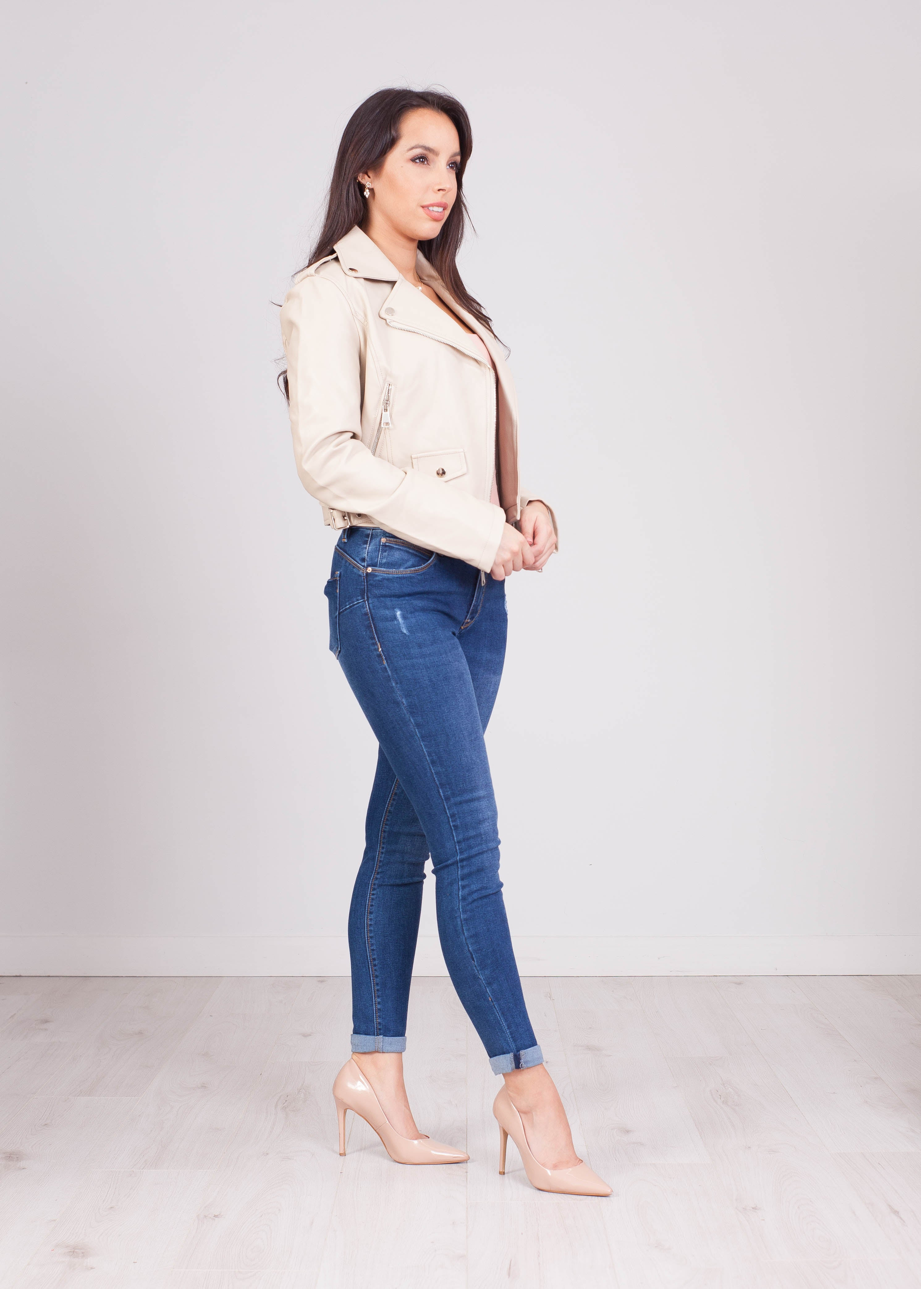 Rose Cream Super Soft Biker Jacket